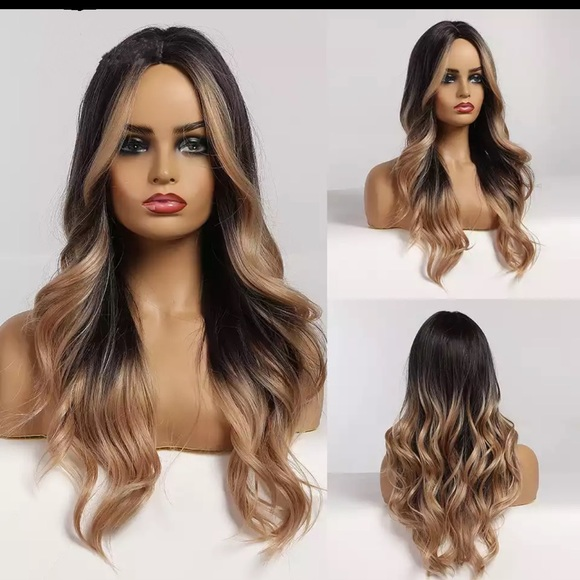 Ombre Brown Long Wavy Middle Part Wig